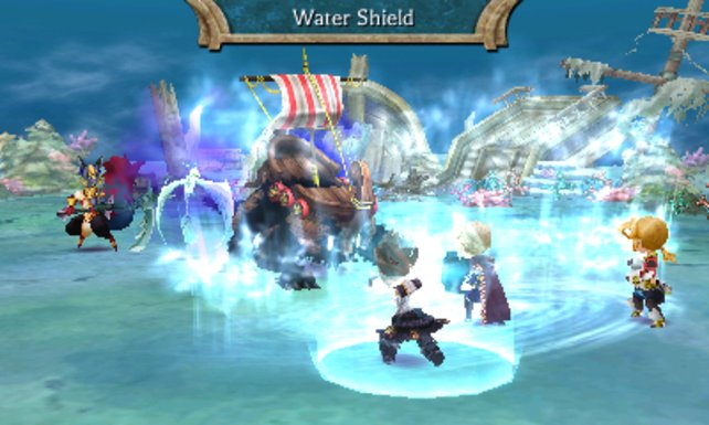 Magie kann mit Hilfe der Elemente im Kampf genutzt werden! In diesem Fall können wir unser Team mit einer Wasserbarriere schützen.
