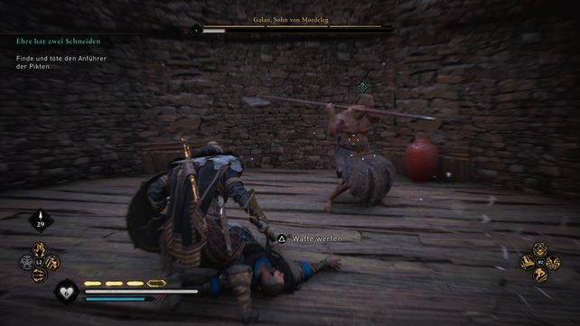 Galans Angriffe sind wild und intensiv. Ihnen fehlt es aber an Finesse. Weicht ihr gekonnt aus, könnt ihr zurückschlagen.