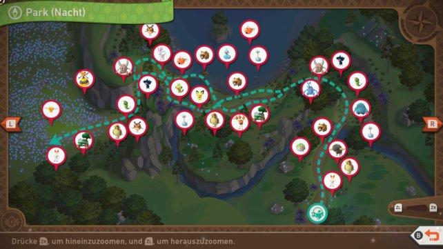 """Karte mit Pokémon-Fundorten auf der Strecke """"Park (Nacht)""""."""