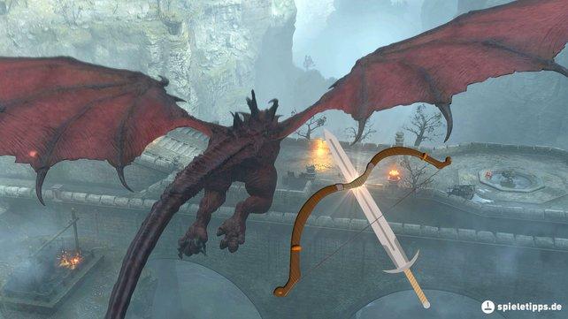 Dieser rote Drache an der Brücke wird euch den Anfang von Demon's Souls schwer machen.