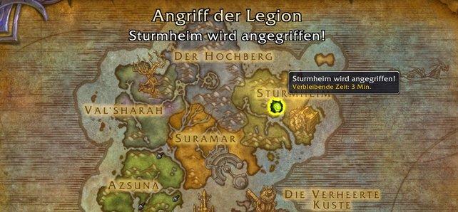 Invasionen werden auf der Weltkarte angezeigt.