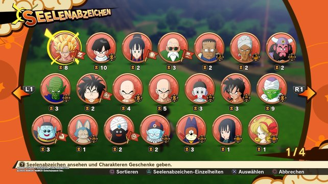 Die Seelenabzeichen sind ein zentrales Element der Rollenspielaspekte in Dragon Ball Z: Kakarot.