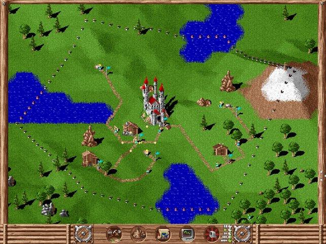 So simpel gestaltete sich der Siedler-Alltag im Jahre 1993: Ihr baut Hütten und Wege, um Ressourcen zu gewinnen.