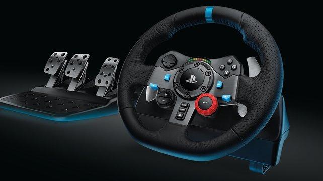 Das Logitech G29 (PC, PS4, PS3) kommt mit Leder, LEDs und voller Pedalerie daher.
