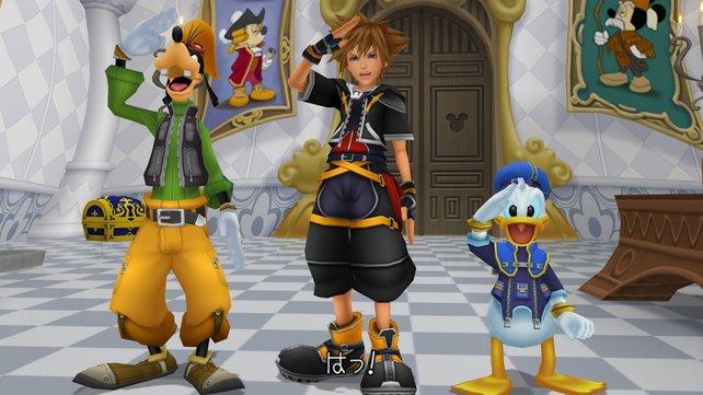 Einsatzbereit: Sora, Donald und Goofy stehen für weitere Abenteuer zur Verfügung.