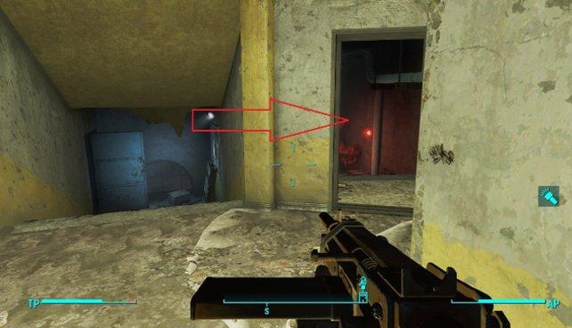 Das rote Licht zeigt euch den Weg zum Fundort des Passwortes.