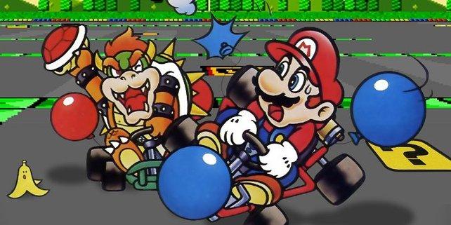 Was nun? Einfach wegspringen? In Super Mario Kart gibt es noch die Feder als Hilfsmittel, die das ermöglicht.