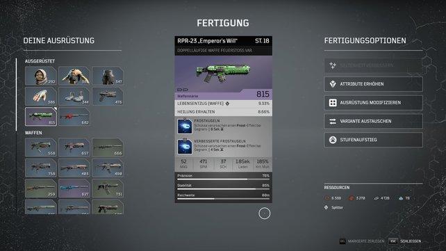 Wollt ihr Waffen verbessern, können die Optionen in Outriders schon mal für Verwirrung sorgen.