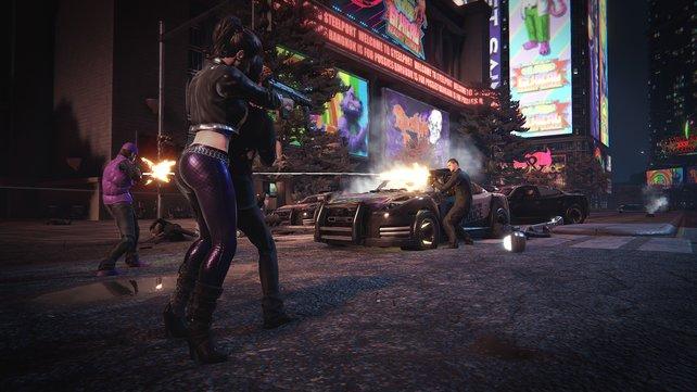 Bleihaltiger Showdown: Mit Gangs und Polizei legt ihr euch regelmäßig in offenen Schießereien an.