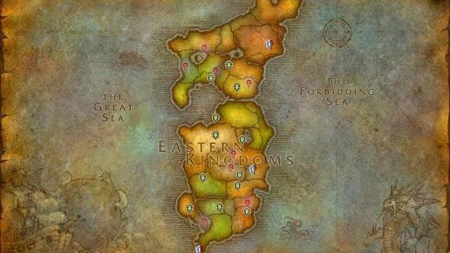 Alle Flugpunkte der Östlichen Königreiche. Die jeweiligen Fraktionen werden durch ihre entsprechenden Wappen repräsentiert. (Löwe - Allianz / Ruhne - Horde / Kombination - Neutral)