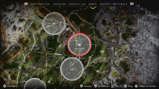 Horizon Zero Dawn Karte Energiezellen.Horizon Zero Dawn Alte Gefasse Finden Und Belohnungskisten