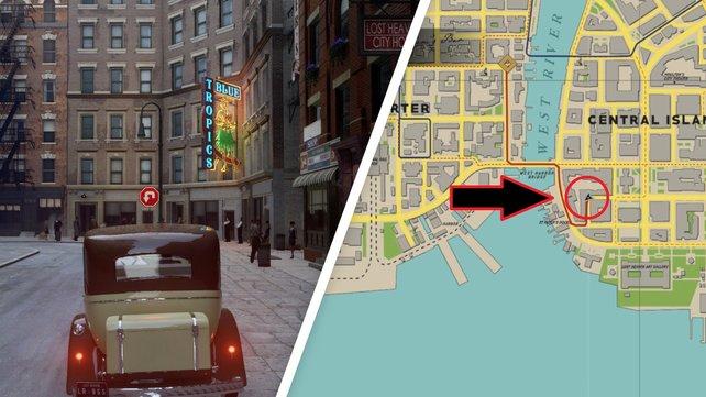 Links seht ihr den Nachtclub, rechts den Ort, den ihr anstatt der Wegmarkierung aufsuchen müsst.