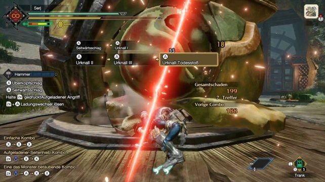 Ein kritischer Treffer wird durch einen roten Lichteffekt auf dem Bildschirm dargestellt.