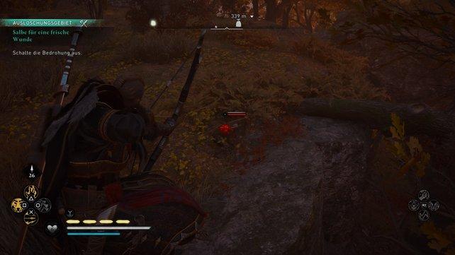 Klettert auf dem Baum über der Schlucht, detzt Odins Sicht ein und schießt mehrere Gegner mit eurem Bogen nieder.