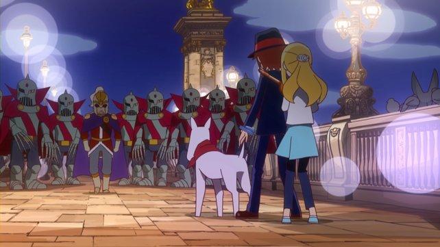 Gemeinsam mit Hund Fondue stellt ihr euch euren Gegnern.