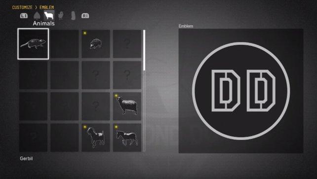 Tier-Embleme; Auswahl-Menü