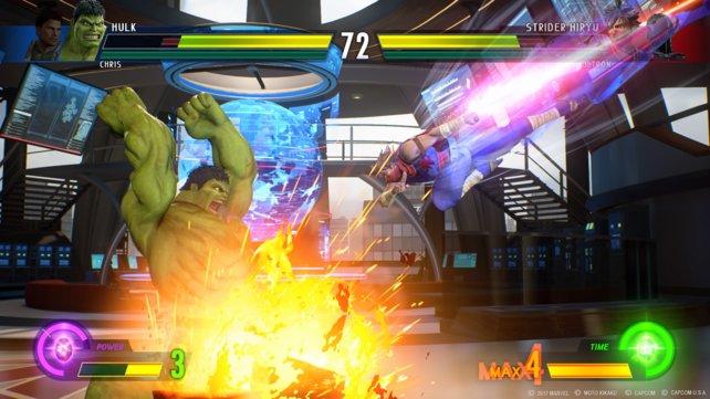Marvels Hulk gegen Capcoms Strider Hiryu: Hier trifft unbändige Kraft auf Geschwindigkeit und eiserne Ninja-Disziplin.