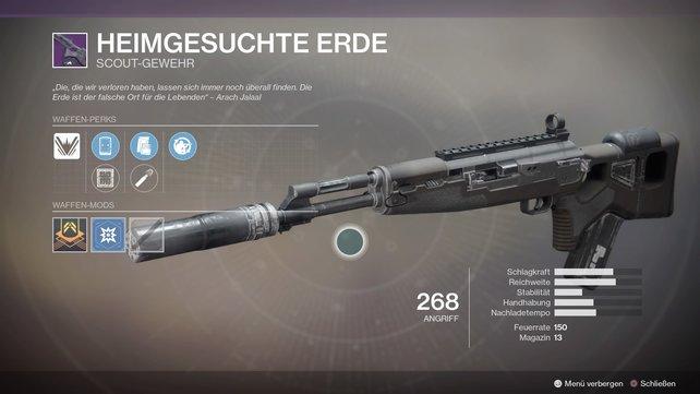 Heimgesuchte Erde: Dieses Scout-Gewehr dürfte für viele der Favorit unter den Waffen sein.