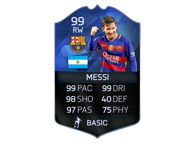 Messi erhält eine unglaubliche Wertung von 99 - ganz stark!
