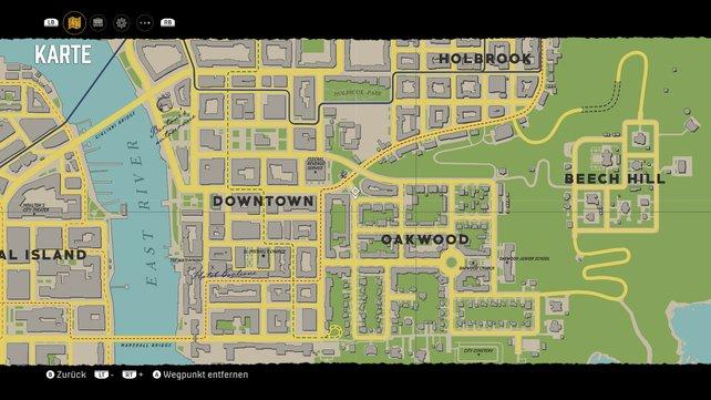 Fundort der Telefonzelle zwischen Downtown und Oakwood.