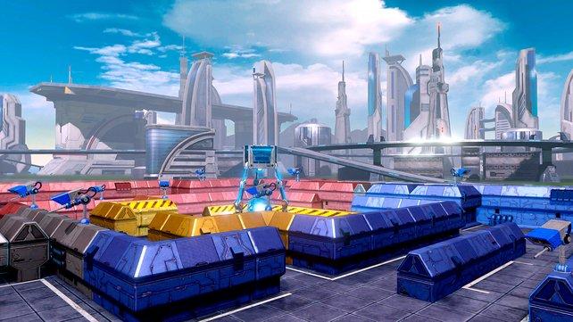 Strategisches Spielfeld bei Star Fox Guard: Hier platziert ihr die Kameras.