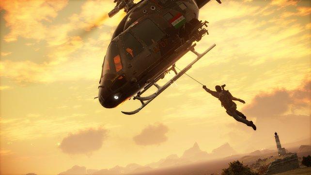 Mithilfe eures Enterhakens übernehmt ihr auch Hubschrauber.
