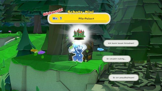 """""""Schatz-Mini"""" ist eine wahrlich ungewöhnliche Bezeichnung. Dabei handelt es sich um kleine Figuren, die ihr in Paper Mario: The Origami King sammeln könnt."""