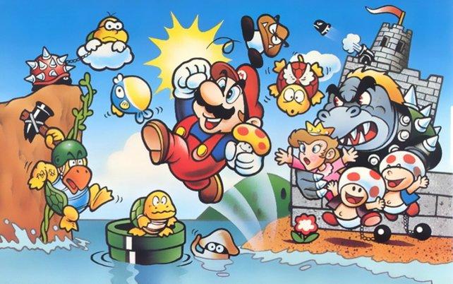 In aller Eile zeichnet Miyamoto das Titelbild für die Verpackung des Hüpfspiels selbst. Peach sieht damals noch aus wie die klischeehafte Jungfrau in der Bredoullie.