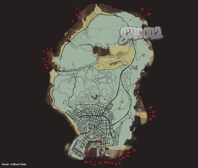 Die Fundorte der U-Boot-Teile. Zum Vergrößern bitte auf die Map klicken.