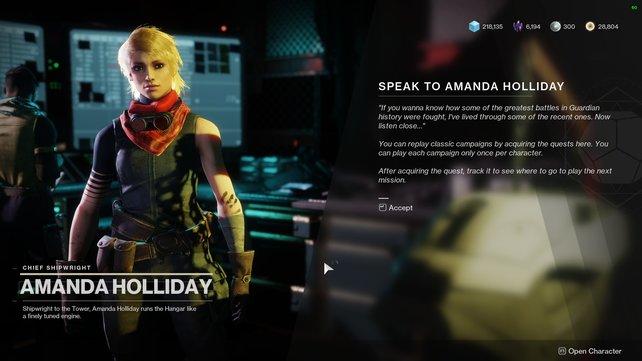 Besucht schnell Amanda, um euch die Kampagnen abzuholen.