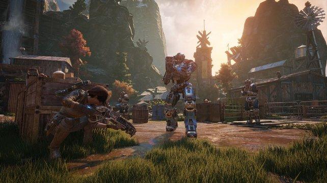 Gears of War 4 ist eines der Vorzeigespiele für die Xbox One X. Ihr könnt zwischen zwei Modi wählen: verbesserte Details mit 30fps oder gewohnte Detailstufe mit 60fps.