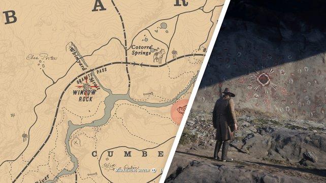 Das ist der Fundort der Höhlenmalerei, die euch das Rätsel mit den seltsamen Statuen offenbart.