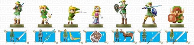 Das Bild zeigt euch eine Auswahl der Legend of Zelda-Amiibo und ihre Belohnungen.