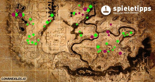 Hier eine Karte mit Fundorten von Eisen (grün) und Kohle (lila). Quelle: conanexiles.io / Bearbeitung: spieletipps.de
