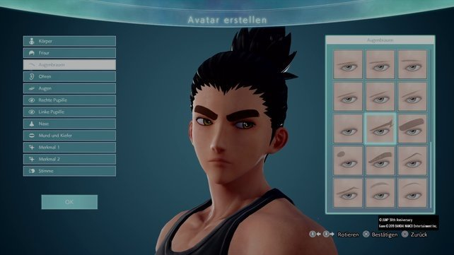 Wo ist eigentlich Rock Lee? Auch buschige Augenbrauen könnt ihr eurem Charakter verpassen.