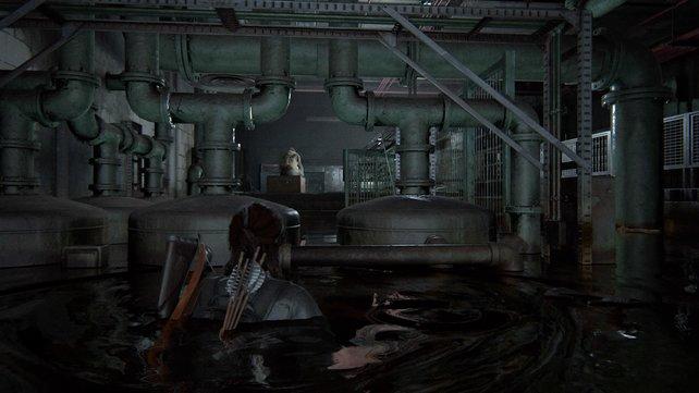 Schwimmt an den verschiedenen WLF-Soldaten vorbei und schleicht euch an die ahnungslose Wache mit ihrer PS- Vita an.
