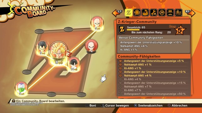 Kombiniert Medaillen für den maximalen Boost im Community-Board von DBZ: Kakarot.