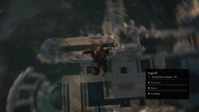 Ihr könnt auf zwei Arten nach unten kommen; Teleportieren oder springen. In Assassin's Creed gibt es aber nur eine Antwort.