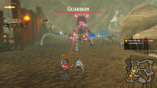 Viele Mechaniken wurden aus der Vorlage übernommen. So kann Link beispielsweise seinen Schild benutzen, um die Laserangriffe der Wächter zu reflektieren.