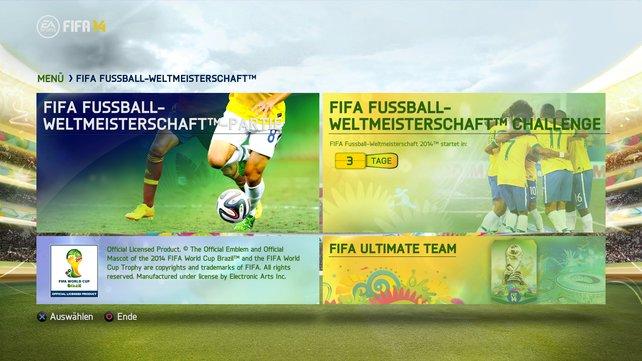 """Das """"Ultimate Team""""-Menü von Fifa 14 erstrahlt nun in den Farben der Weltmeisterschaft."""