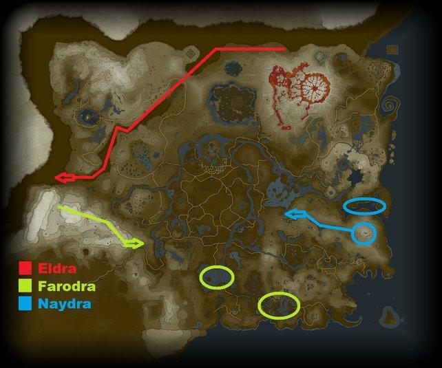 Die Karte veranschaulicht euch die Fundorte der Drachen.