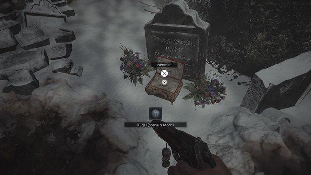 Bei diesem Grabstein findet ihr eine Schatulle mit der Labyrinthkugel.
