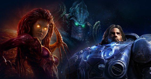 Die Rassen in StarCraft von links: Zerg, Protoss und Terraner.