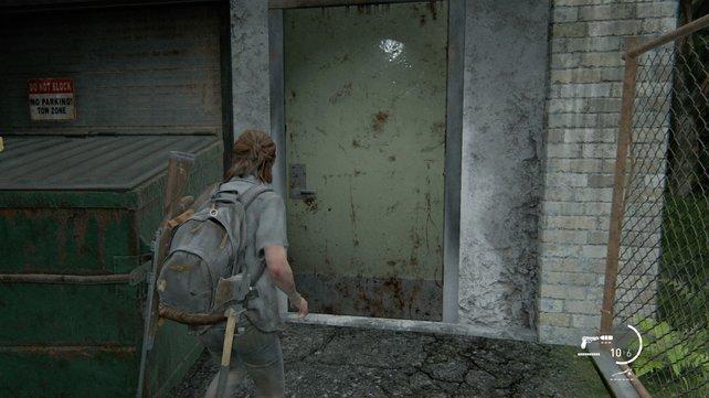 Hinter dieser Tür findet ihr zwar sehr nützlichen Loot, trefft aber auch auf fünf Runner. Öffnet die Tür, klettert auf den Container und schießt herunter.
