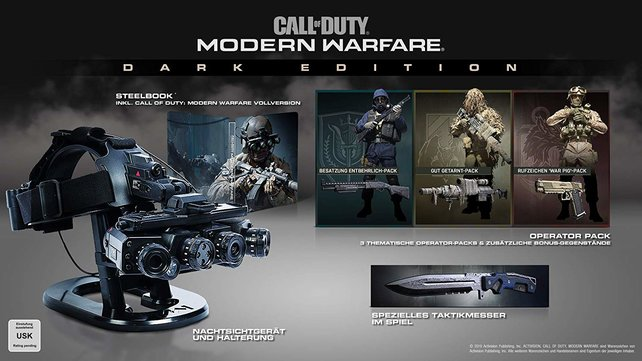 Die Dark Edition von CoD Modern Warfare ist mit 200 Euro die teuerste Version des Shooters.
