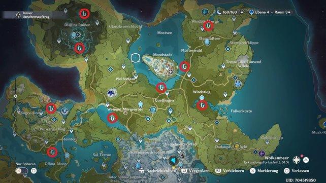 Die Karte zeigt euch alle Angelstellen in Mondstadt.