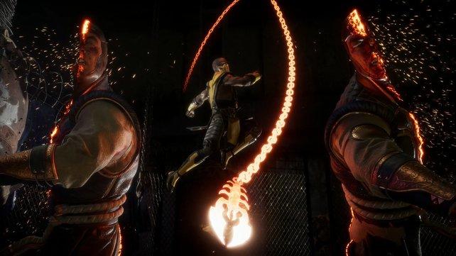 Scorpion führt einen Fatality aus, Raiden ist darüber geteilter Meinung.