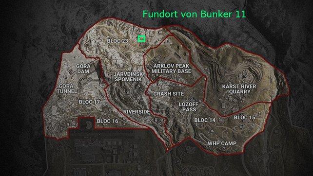 Das grüne Rechteck zeigt euch den Fundort von Bunker 11 im Norden von Verdansk.