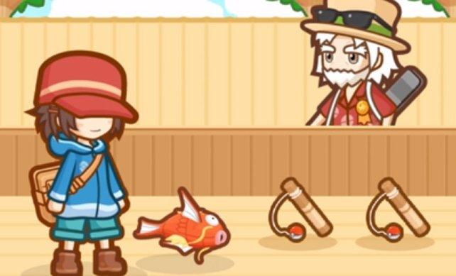 Ihr startet das Spiel natürlich mit einem gewöhnlichen Karpador – so wie ihr es kennt und liebt.