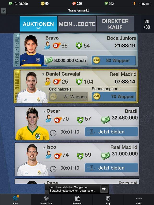 Fantasy Manager Football setzt auf teils lizenzierte Spieler, aber leider auch auf viele Bezahloptionen.